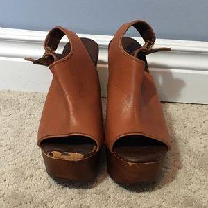 ALDO sling back peep toe brown wedge, size 7